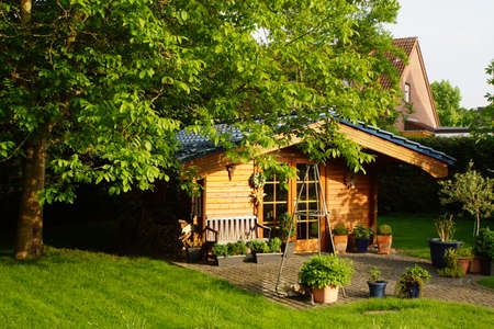 blumen: Garden house made of wood, Nordrhein-Westfalen, Germany Stock Photo