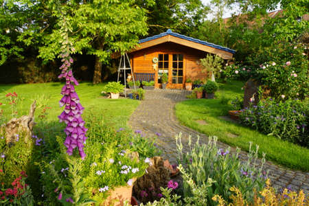 holz: Garden house made of wood, Nordrhein-Westfalen, Germany Stock Photo