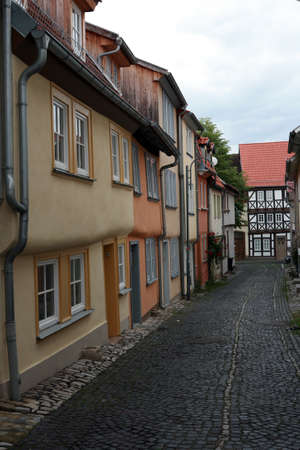 baudenkmal: Street with residential houses - historic city Muehlhausen, Thuringia, Germany