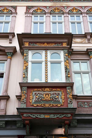 baudenkmal: House with decorated bay window - historic city Muehlhausen, Thuringia, Germany Stock Photo