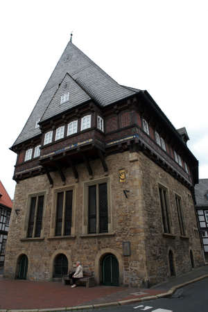 Baker guild house - half-timbered house in the historic town, Goslar, Lower Saxony, Germany Stock Photo