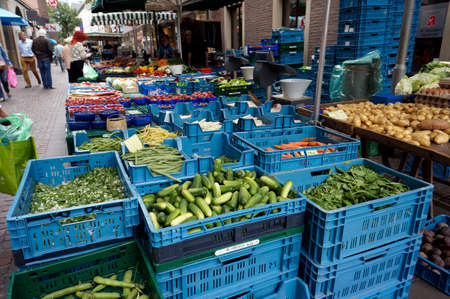 weekly market: Fruits and vegetables stall on the weekly market, Bocholt, Nordrhein-Westfalen, Germany