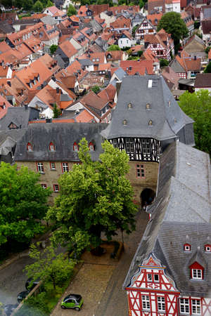 hessen: View from the witches tower to old town and the chancery gate, Idstein, Hessen, Germany Editorial