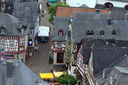 fachwerk: View from the witches tower to historic old town, Idstein, Hessen, Germany Editorial