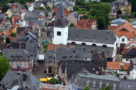 hessen: View from the witches tower to historic old town, Idstein, Hessen, Germany Editorial