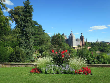 Castle garden of Castle Johannisburg over the Main, Aschaffenburg, Bavaria, Germany