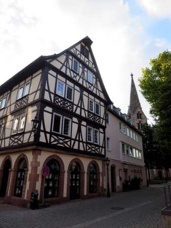 fachwerk: Tudor style house in the historic old town, Aschaffenburg, Bavaria, Germany Stock Photo