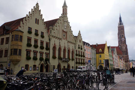 restored: renovated and restored historic old town Landshut - Town Hall with a bay window, Bavaria, Germany