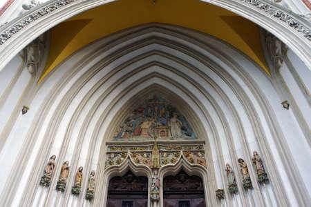 landshut: Side portal on the basilica Saint Martin, Landshut, Bavaria, Germany
