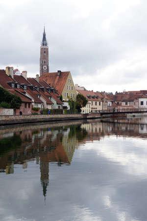 landshut: Old city panorama reflected in the Isar, Landshut, Bavaria, Germany Editorial