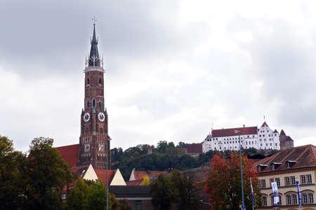landshut: Trausnitz castle and basilica St. Martin, Landshut, Bavaria, Germany Editorial