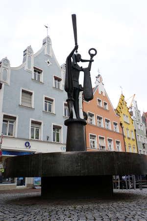 landshut: Fools fountain in the Old city, Landshut, Bavaria, Germany Editorial