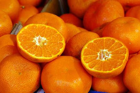 landshut: sliced ??tangerines in the market, Landshut, Bavaria, Germany Editorial