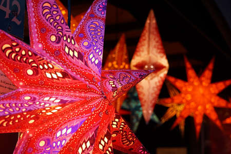 illuminated star on the Christmas market at Hahnentor, Cologne, Nordrhein-Westfalen, Germany Stock Photo