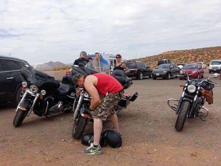 Motorcycles on parking at Horseshoe Bend, Page, Arizona, USA
