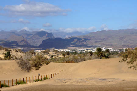 bartolome: Dunes landscape on the beach of Maspalomas, San Bartolome de Tirajana, Gran Canaria, Spain
