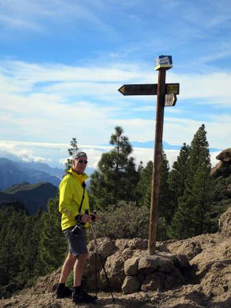 hike on Roque Nublo in the landscape park Parque Rural del Nublo, Tejeda, Gran Canaria, Spain