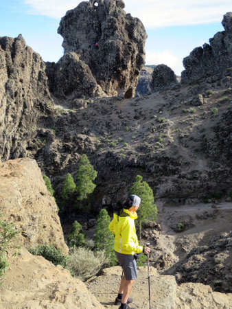 dona: hike on Roque Nublo in the landscape park Parque Rural del Nublo, Tejeda, Gran Canaria, Spain