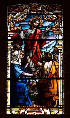 artful stained-glass window of Basilica de Nuestro Senora del Pino in Teror, Gran Canaria Reklamní fotografie - 73626451