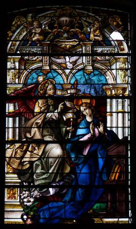 artful stained-glass window of Basilica de Nuestro Senora del Pino in Teror, Gran Canaria, Canary Islands, Spain Reklamní fotografie - 76024309