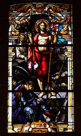 artful stained-glass window of Basilica de Nuestro Senora del Pino in Teror, Gran Canaria, Canary Islands, Spain Reklamní fotografie - 76024310