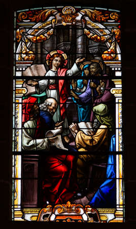 artful stained-glass window of Basilica de Nuestro Senora del Pino in Teror, Gran Canaria Reklamní fotografie - 73626449