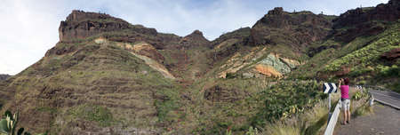 Azulejos-called colored rock formation on the road from Mogan to San Nicolas de Tolentino, Gran Canaria, Canary Islands, Spain