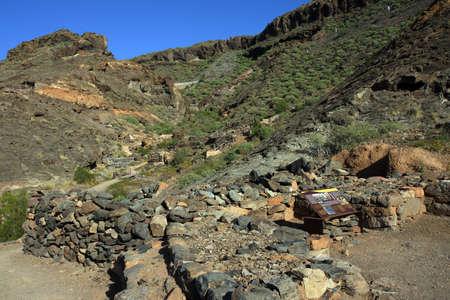 archaeologically: Archaeologically Zone Canada de los Gatos with remains of prehispanic houses, Puerto de Mogan, Gran Canaria, Canary Islands, Spain, Stock Photo