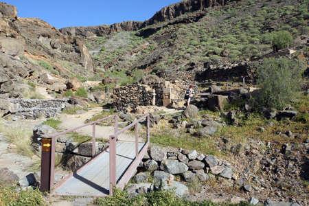 Archeologisch Zone Canada de los Gatos met overblijfselen van prehispanic huizen, Puerto de Mogan, Gran Canaria, Canarische eilanden, Spanje, Stockfoto