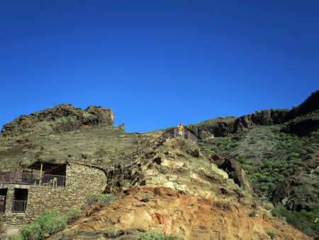 Arch? Ologische Zone Kanada de los Gatos mit Resten pr? Hispanischer H? User, Puerto de Mogan, Gran Canaria, Kanaren, Spanien,