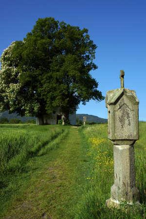 Stations van het Kruis naar de St. Anna Kapel, Neukirchen dichtbij Heiligenblut, Beieren, Duitsland