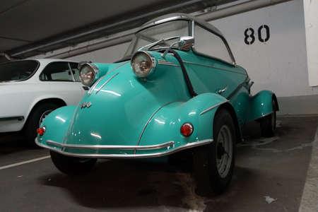 Messerschmitt cabine scooter in the underground parking Editorial