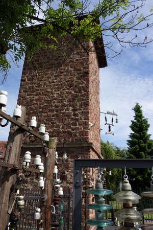 Isolator museum in transformer house, Lohr am Main, Bavaria, Germany Stock Photo