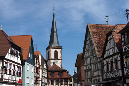 fachwerk: Historic old town of Lohr am Main, Bavaria, Germany