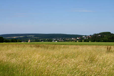 Eifel landscape near Bad Muenstereifel with view of Arloff and Kirspenich, North Rhine-Westphalia, Germany