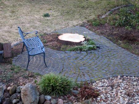F?llen einer Eiche im Garten Stock Photo