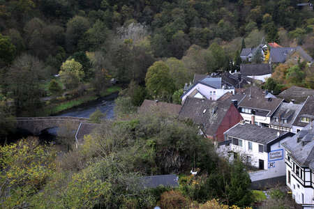 View from Hengebach Castle into Rurtal, Heimbach, North Rhine-Westphalia, Germany