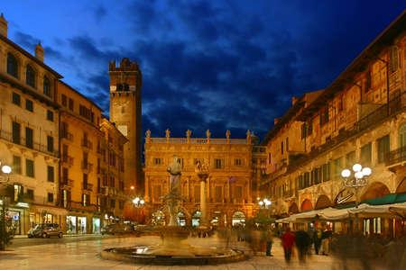 Square Piazza delle Erbe, Verona, Italy