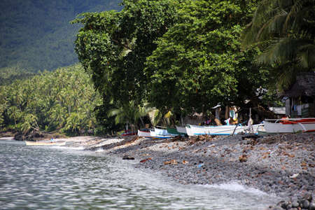 typical catamaran on the shore, Pintuyan, Panaon Island, Southern Leyte, Philippines