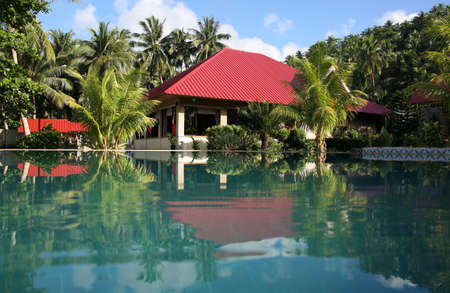 Swiming pool and vacation bungalows, Pintuyan, Panaon Island, Southern Leyte, Philippines Stock Photo