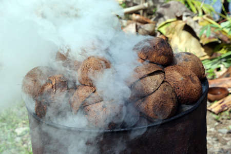 Coconut shells are processed into charcoal on the roadside, Pintuyan, Panaon Island, Southern Leyte, Philippines Imagens
