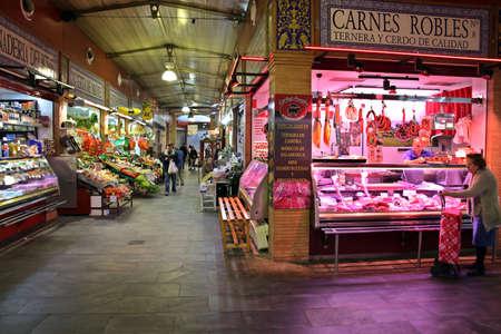 Market hall Mercado de Triana, Seville, Andalusia, Spain Stockfoto