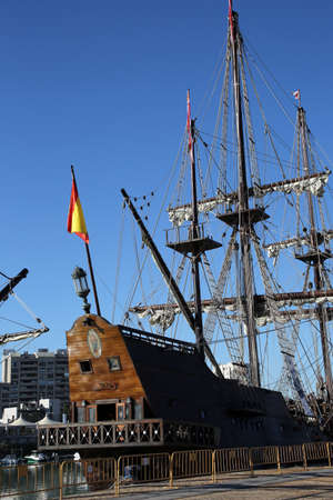Museum ship three-masted caravel in the harbor, Sevilla, Andalusia, Spain