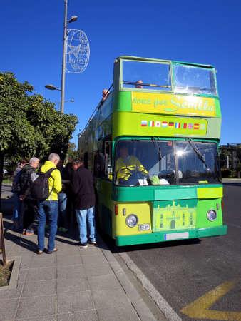 Biplane tourist bus for city tours, Sevilla, Andalusia, Spain