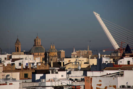View over the Santa Cruz district to San Luis Church, Seville, Andalusia, Spain