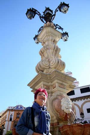Farola fountain on the Virgen de los Reyes square, Sevilla, Andalusia, Spain