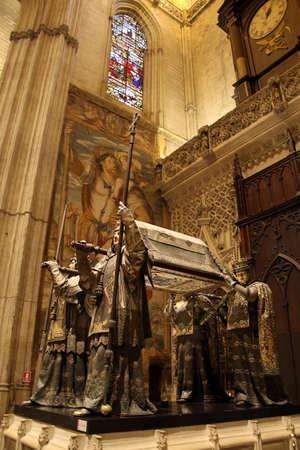 Cathedral of Santa Mar?a de la Sede - Sakophag of Christopher Columbus, Sevilla, Andalusia, Spain Editorial