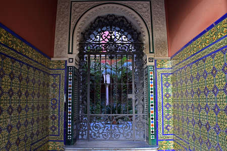 view in a typical courtyard in the old town, Sevilla, Andalusia, Spain Editorial