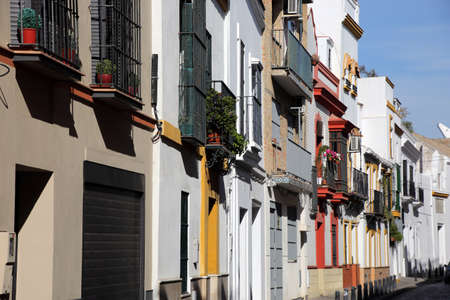 typical street in the historic center, Seville, Andalusia, Spain