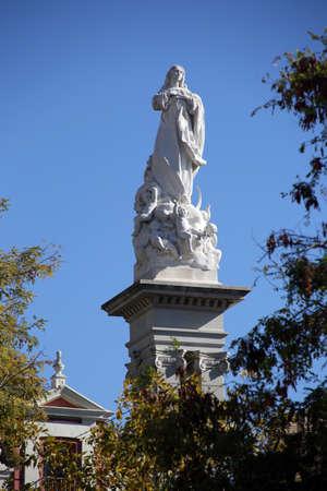 Mary statue Immaculate Conception in the Plaza del Triunfo, Sevilla, Andalusia, Spain